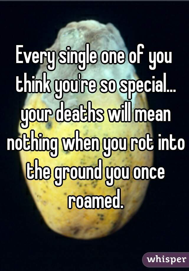 Every single one of you think you're so special... your deaths will mean nothing when you rot into the ground you once roamed.