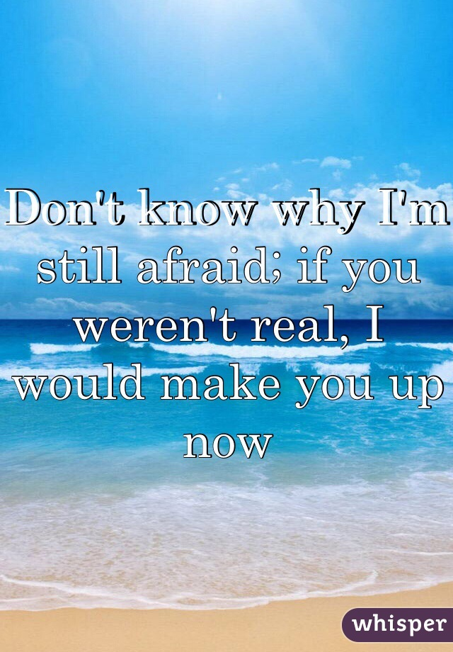 Don't know why I'm still afraid; if you weren't real, I would make you up now