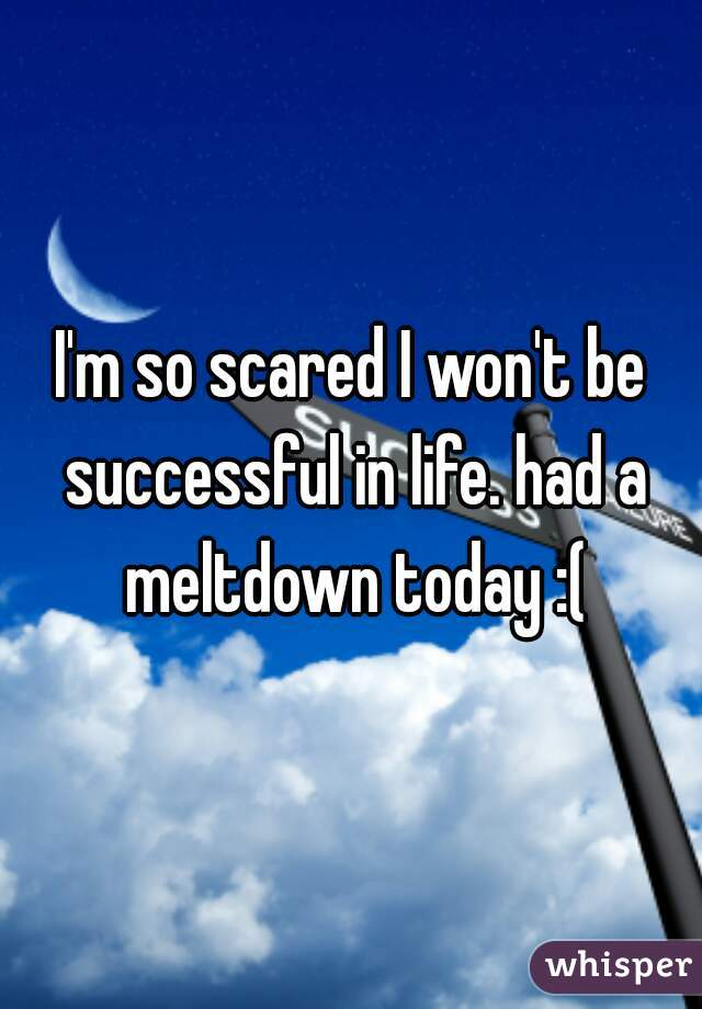 I'm so scared I won't be successful in life. had a meltdown today :(