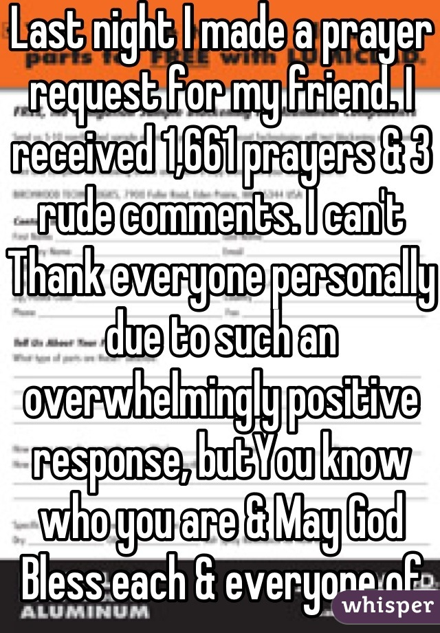 Last night I made a prayer request for my friend. I received 1,661 prayers & 3 rude comments. I can't Thank everyone personally due to such an overwhelmingly positive response, butYou know who you are & May God Bless each & everyone of you!!!