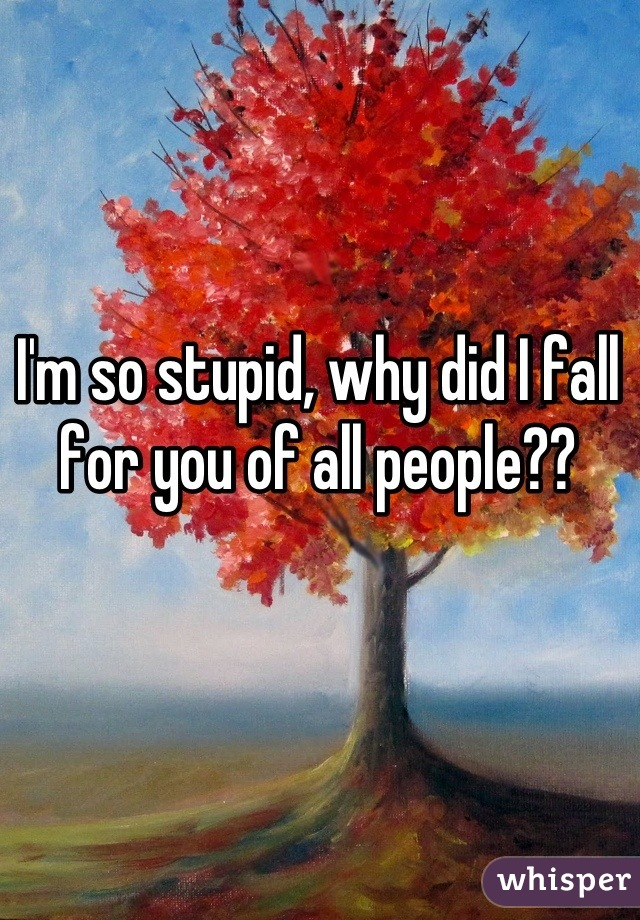 I'm so stupid, why did I fall for you of all people??