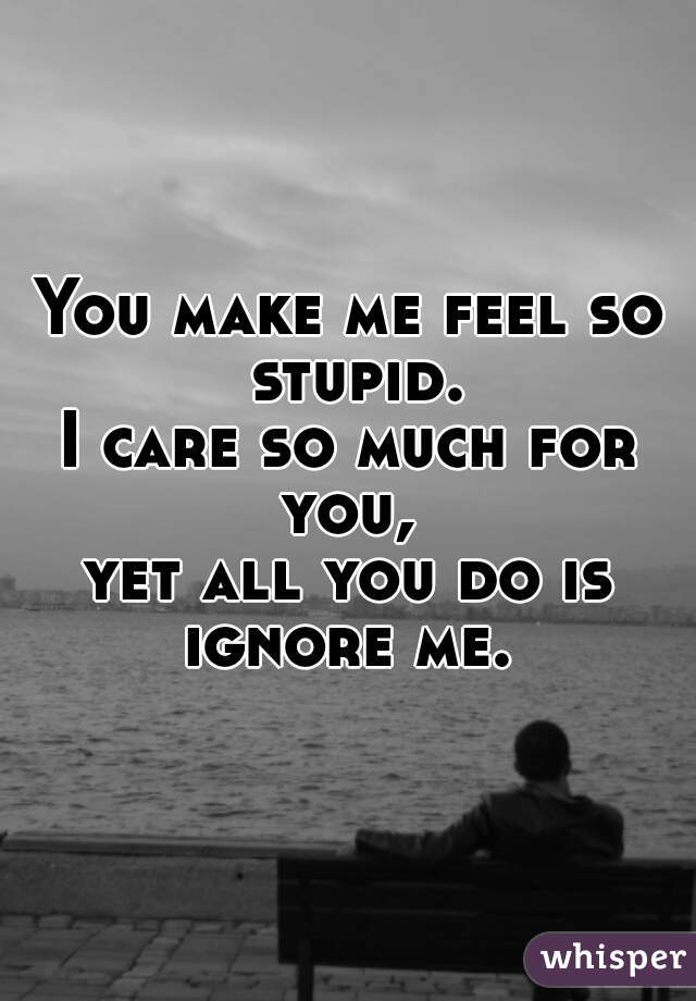 You make me feel so stupid. I care so much for you,  yet all you do is ignore me.
