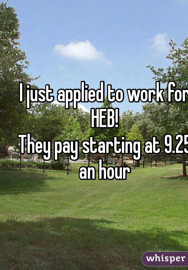 I just applied to work for HEB! They pay starting at 9.25 an hour