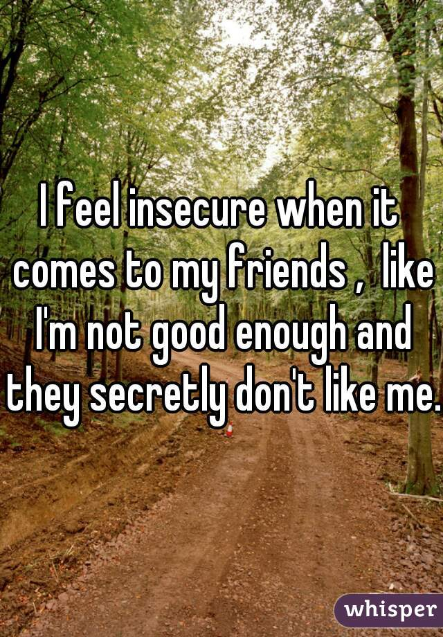 I feel insecure when it comes to my friends ,  like I'm not good enough and they secretly don't like me.