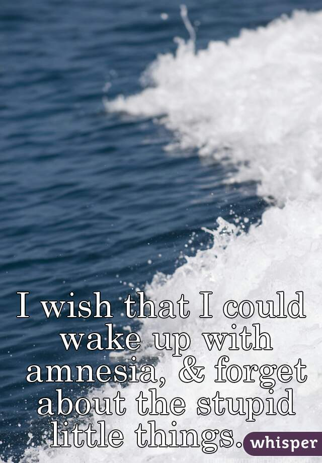 I wish that I could wake up with amnesia, & forget about the stupid little things...