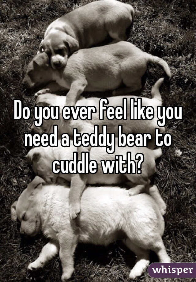 Do you ever feel like you need a teddy bear to cuddle with?
