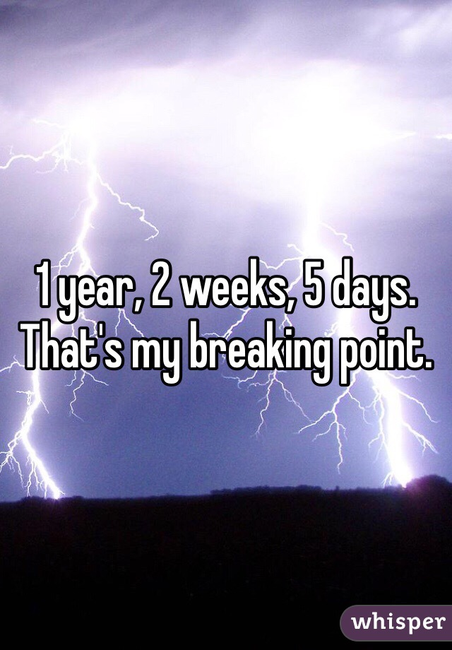 1 year, 2 weeks, 5 days. That's my breaking point.