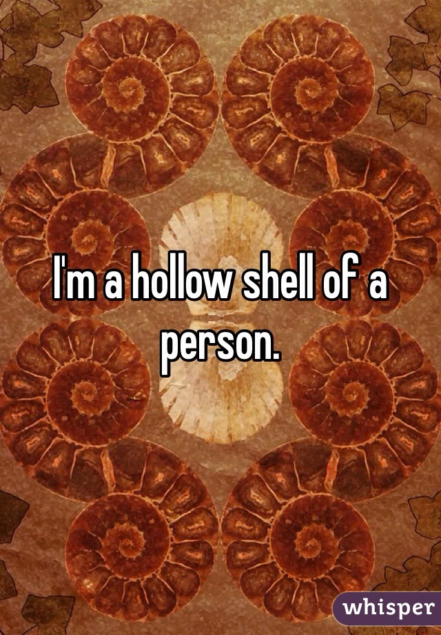 I'm a hollow shell of a person.