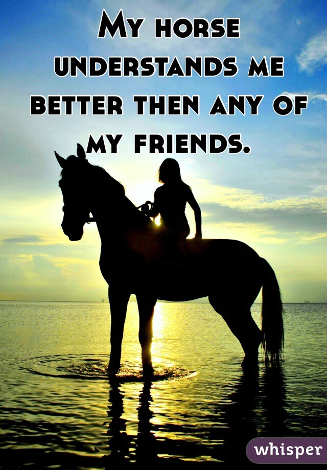 My horse understands me better then any of my friends.