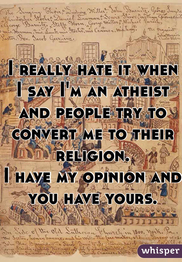 I really hate it when I say I'm an atheist and people try to convert me to their religion.  I have my opinion and you have yours.