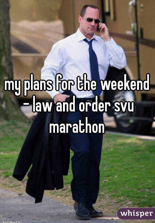 my plans for the weekend - law and order svu marathon