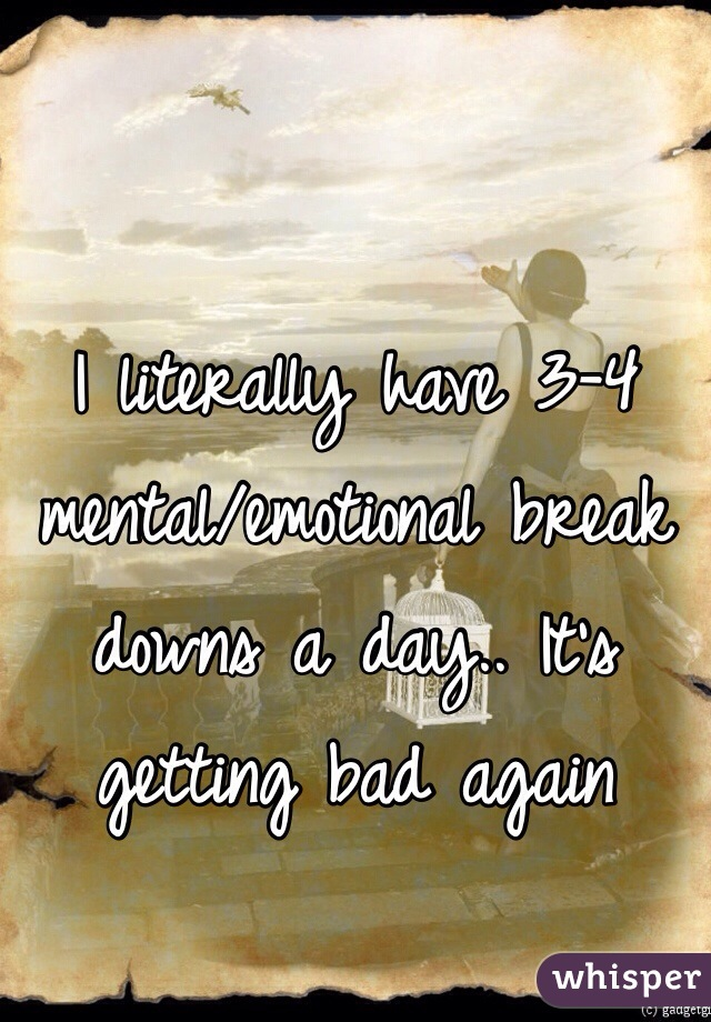 I literally have 3-4 mental/emotional break downs a day.. It's getting bad again