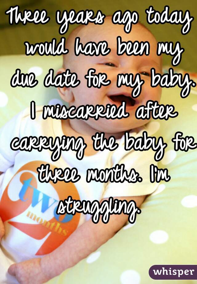 Three years ago today would have been my due date for my baby. I miscarried after carrying the baby for three months. I'm struggling.