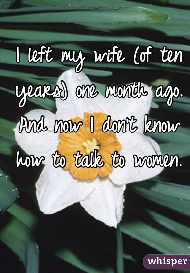 I left my wife (of ten years) one month ago. And now I don't know how to talk to women.