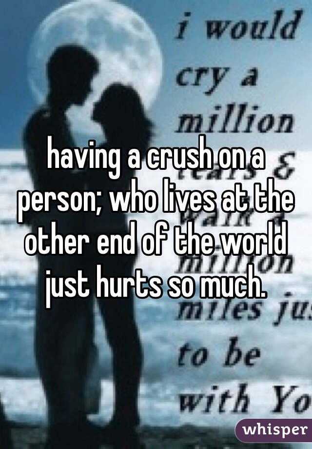 having a crush on a person; who lives at the other end of the world just hurts so much.