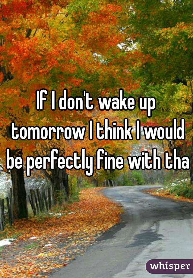 If I don't wake up tomorrow I think I would be perfectly fine with that