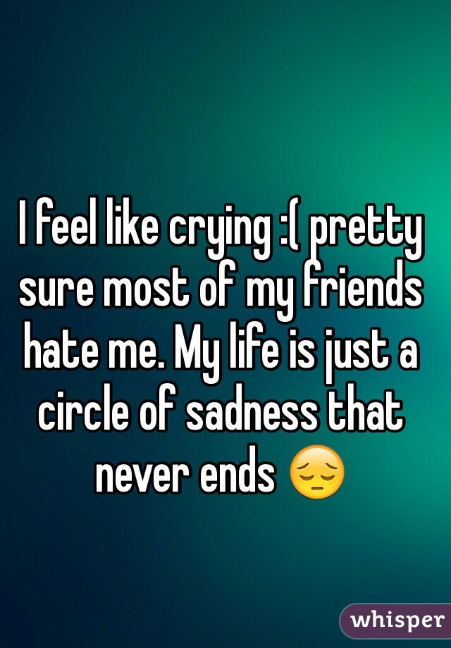 I feel like crying :( pretty sure most of my friends hate me. My life is just a circle of sadness that never ends 😔