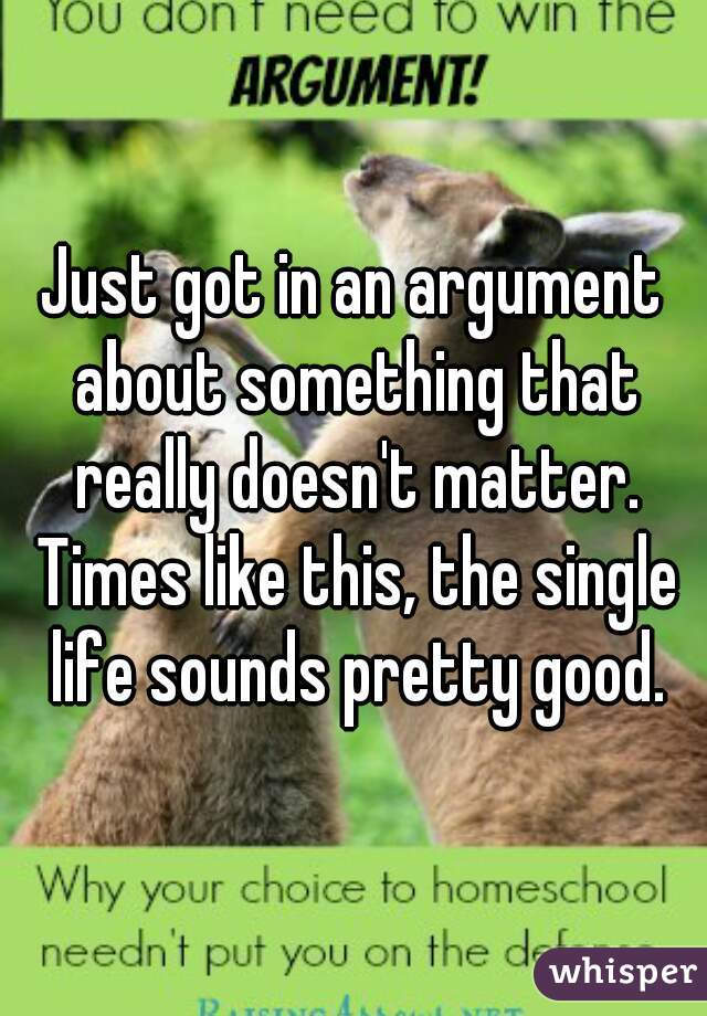 Just got in an argument about something that really doesn't matter. Times like this, the single life sounds pretty good.