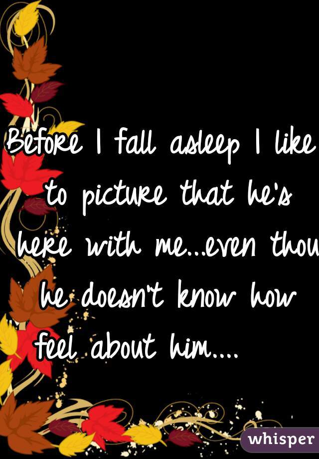 Before I fall asleep I like to picture that he's here with me...even thou he doesn't know how feel about him....