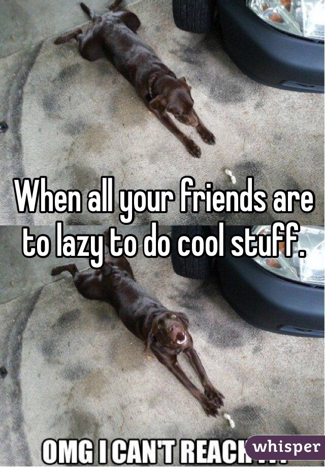 When all your friends are to lazy to do cool stuff.