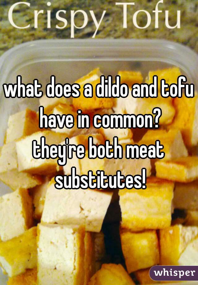 what does a dildo and tofu have in common? . . . they're both meat substitutes!