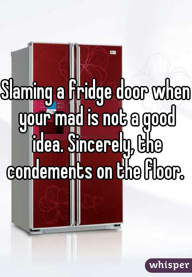 Slaming a fridge door when your mad is not a good idea. Sincerely, the condements on the floor.
