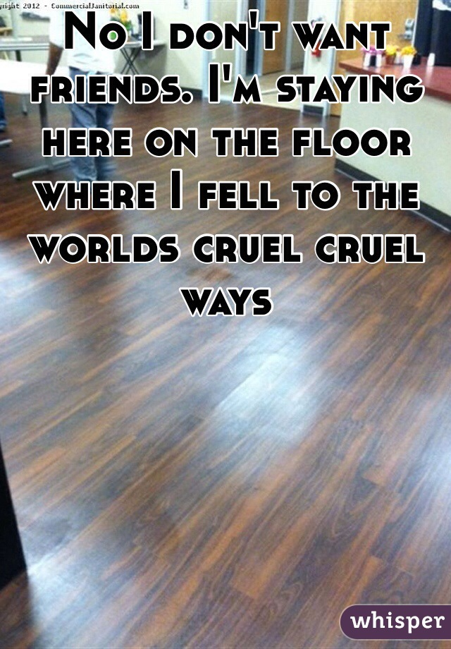 No I don't want friends. I'm staying here on the floor where I fell to the worlds cruel cruel ways