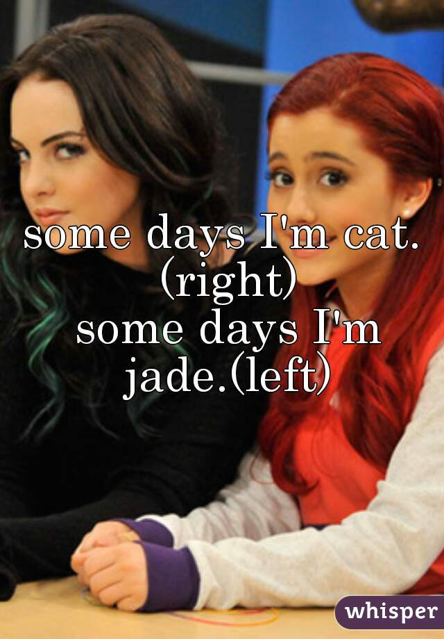 some days I'm cat. (right)  some days I'm jade.(left)
