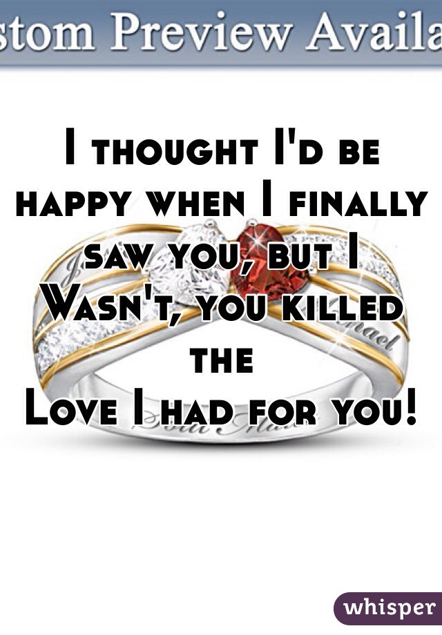 I thought I'd be happy when I finally saw you, but I  Wasn't, you killed the Love I had for you!