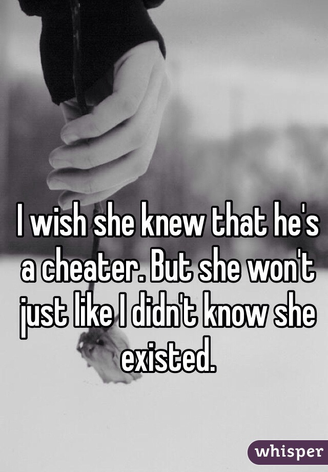 I wish she knew that he's a cheater. But she won't just like I didn't know she existed.