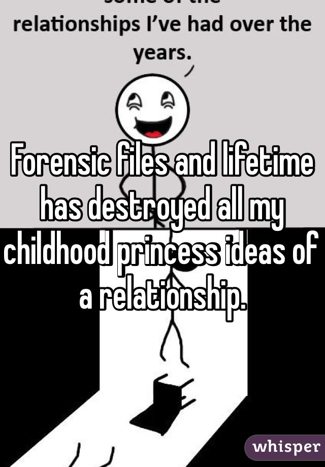 Forensic files and lifetime has destroyed all my childhood princess ideas of a relationship.