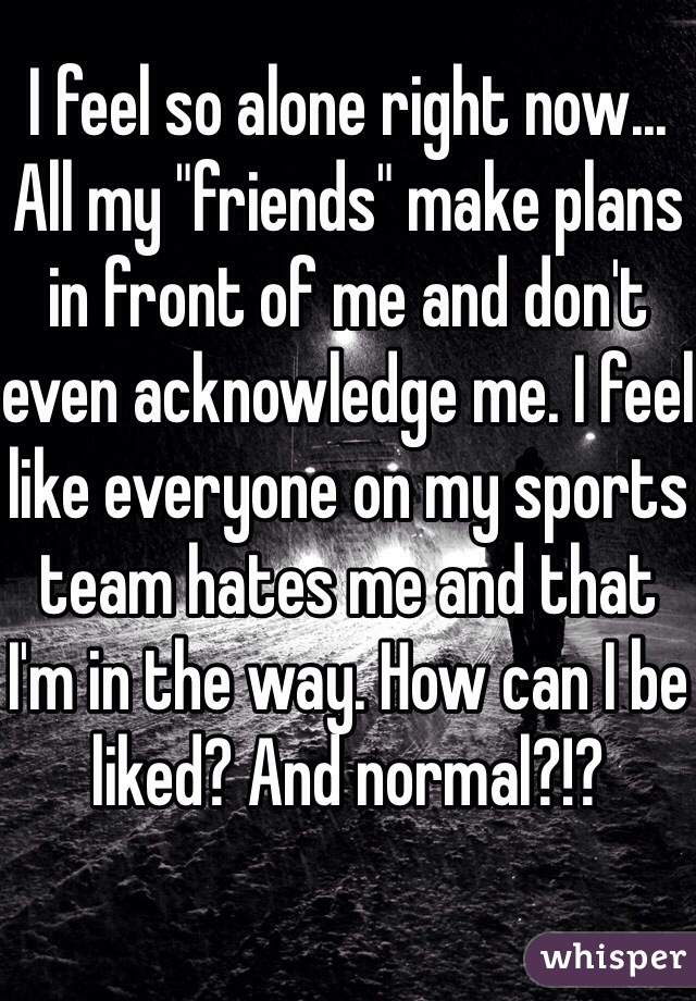 "I feel so alone right now... All my ""friends"" make plans in front of me and don't even acknowledge me. I feel like everyone on my sports team hates me and that I'm in the way. How can I be liked? And normal?!?"