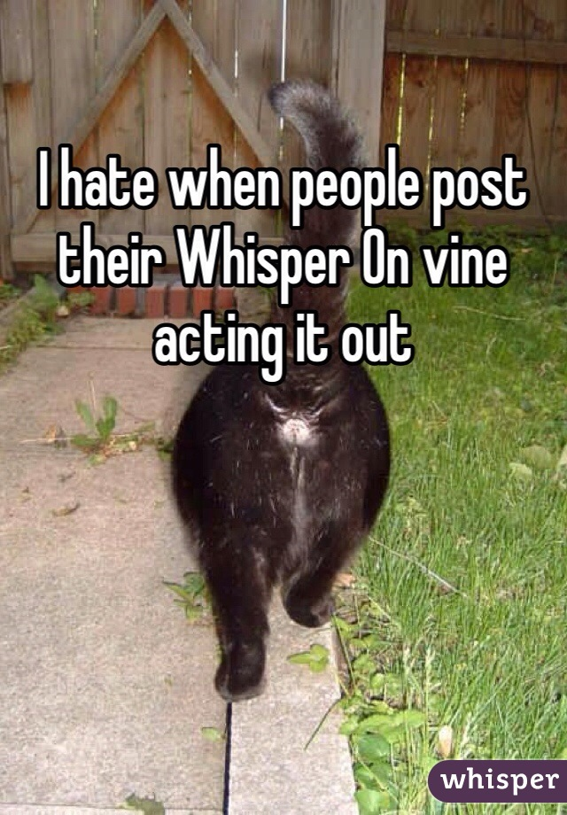 I hate when people post their Whisper On vine acting it out