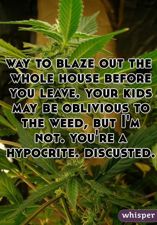 way to blaze out the whole house before you leave. your kids may be oblivious to the weed, but I'm not. you're a hypocrite. discusted.