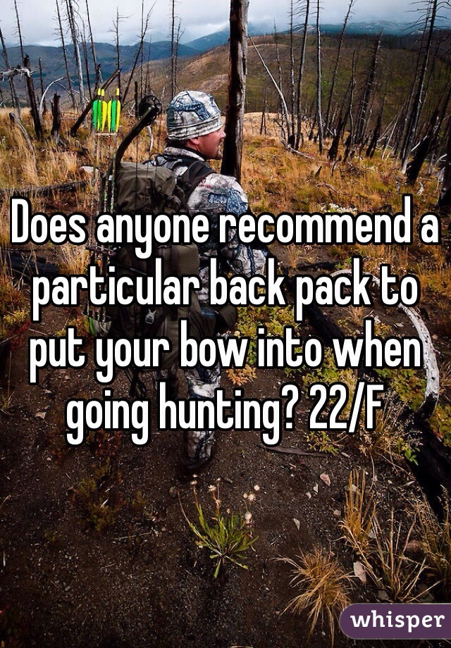 Does anyone recommend a particular back pack to put your bow into when going hunting? 22/F
