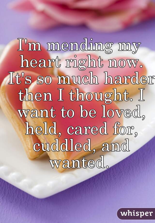 I'm mending my heart right now. It's so much harder then I thought. I want to be loved, held, cared for, cuddled, and wanted.