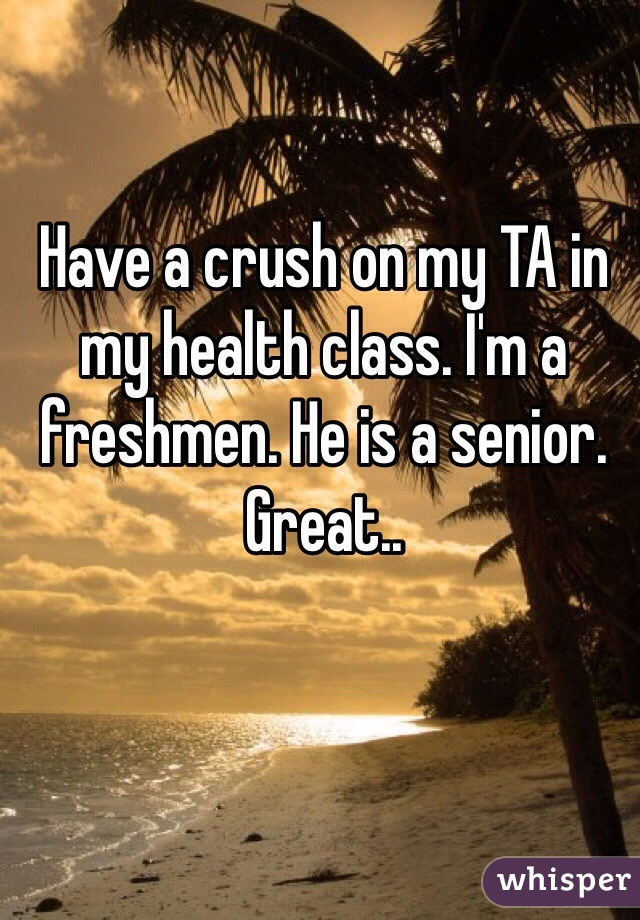 Have a crush on my TA in my health class. I'm a freshmen. He is a senior. Great..