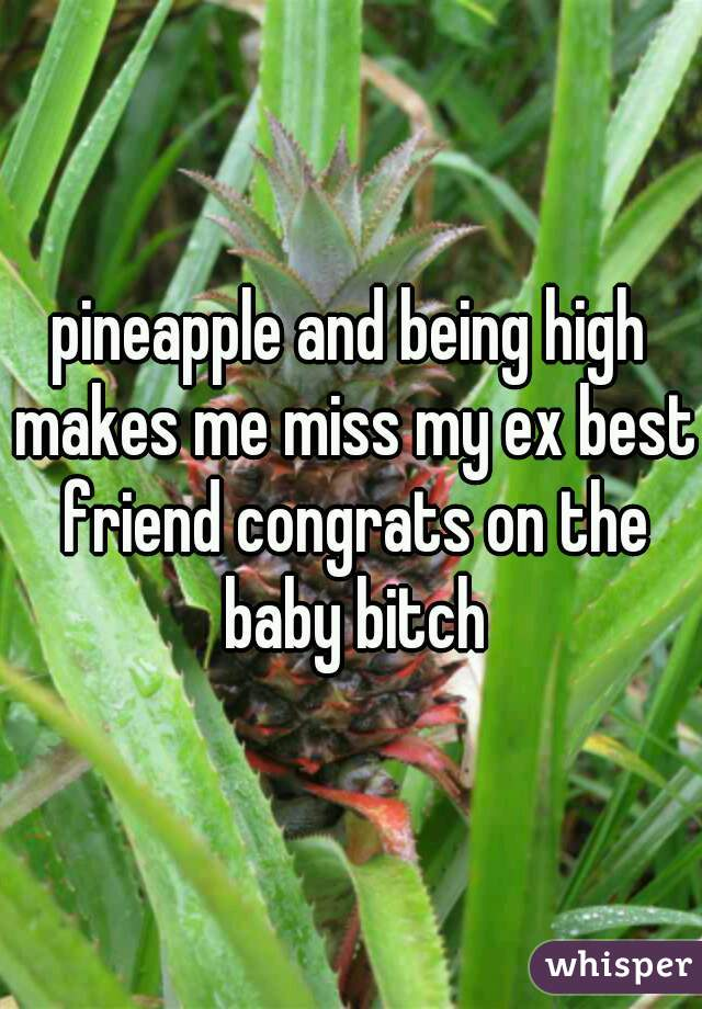 pineapple and being high makes me miss my ex best friend congrats on the baby bitch