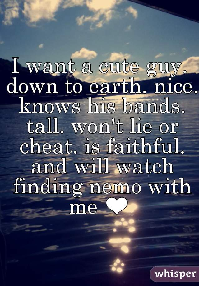 I want a cute guy. down to earth. nice. knows his bands. tall. won't lie or cheat. is faithful. and will watch finding nemo with me ❤