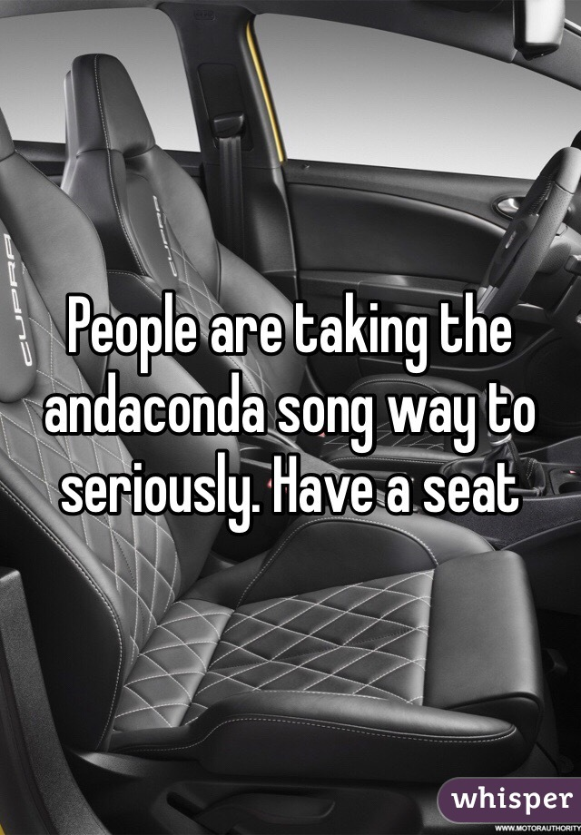 People are taking the andaconda song way to seriously. Have a seat