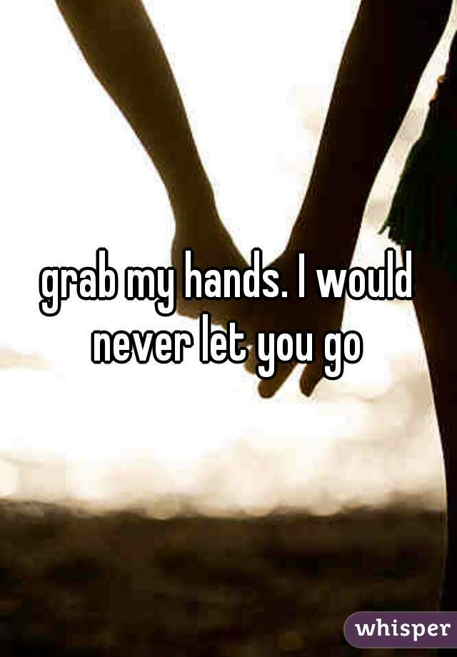 grab my hands. I would never let you go