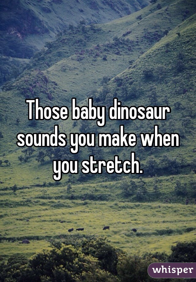 Those baby dinosaur sounds you make when you stretch.
