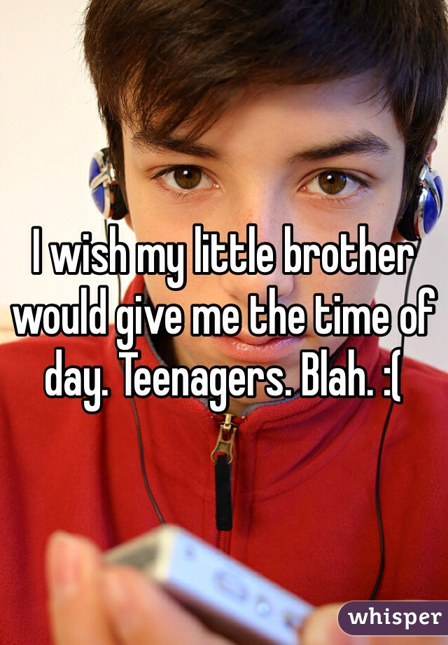 I wish my little brother would give me the time of day. Teenagers. Blah. :(