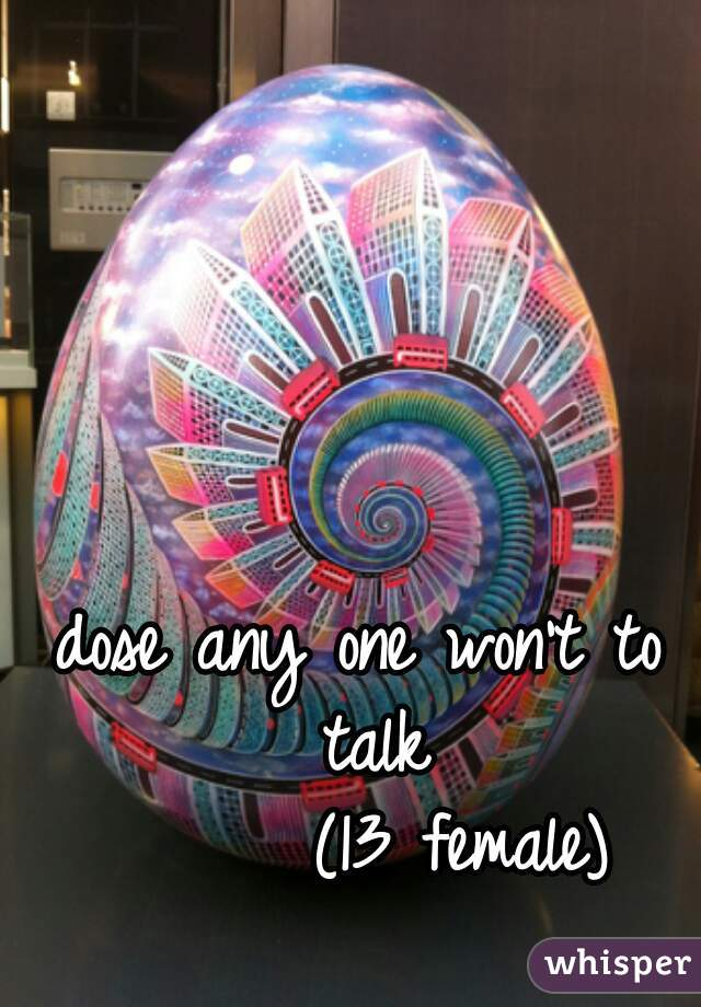 dose any one won't to talk          (13 female)