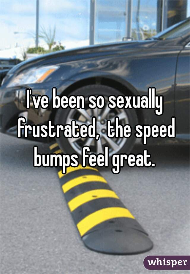 I've been so sexually frustrated,  the speed bumps feel great.
