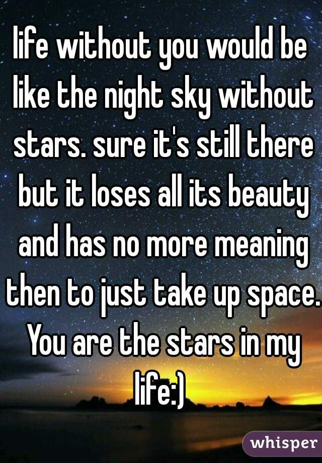life without you would be like the night sky without stars. sure it's still there but it loses all its beauty and has no more meaning then to just take up space. You are the stars in my life:)