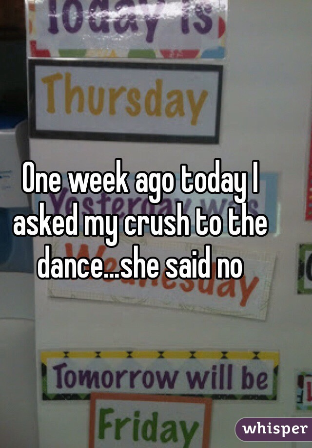 One week ago today I asked my crush to the dance...she said no