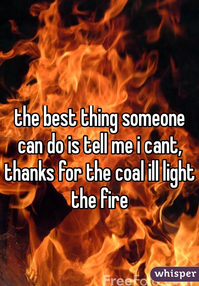the best thing someone can do is tell me i cant, thanks for the coal ill light the fire