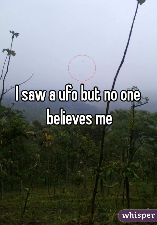 I saw a ufo but no one believes me