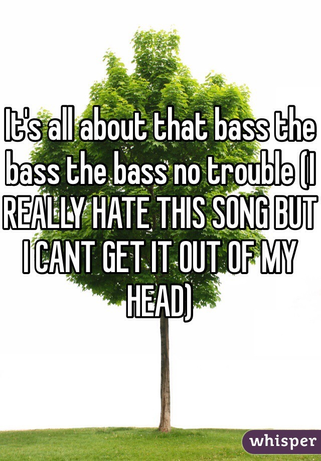It's all about that bass the bass the bass no trouble (I REALLY HATE THIS SONG BUT I CANT GET IT OUT OF MY HEAD)